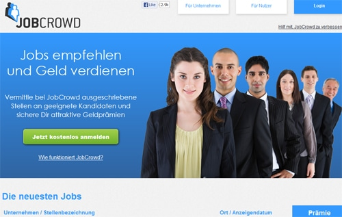 Screenshot: www.jobcrowd.de - Social Recruiting