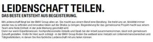 BMW als Arbeitgeber Karriereseite EVP