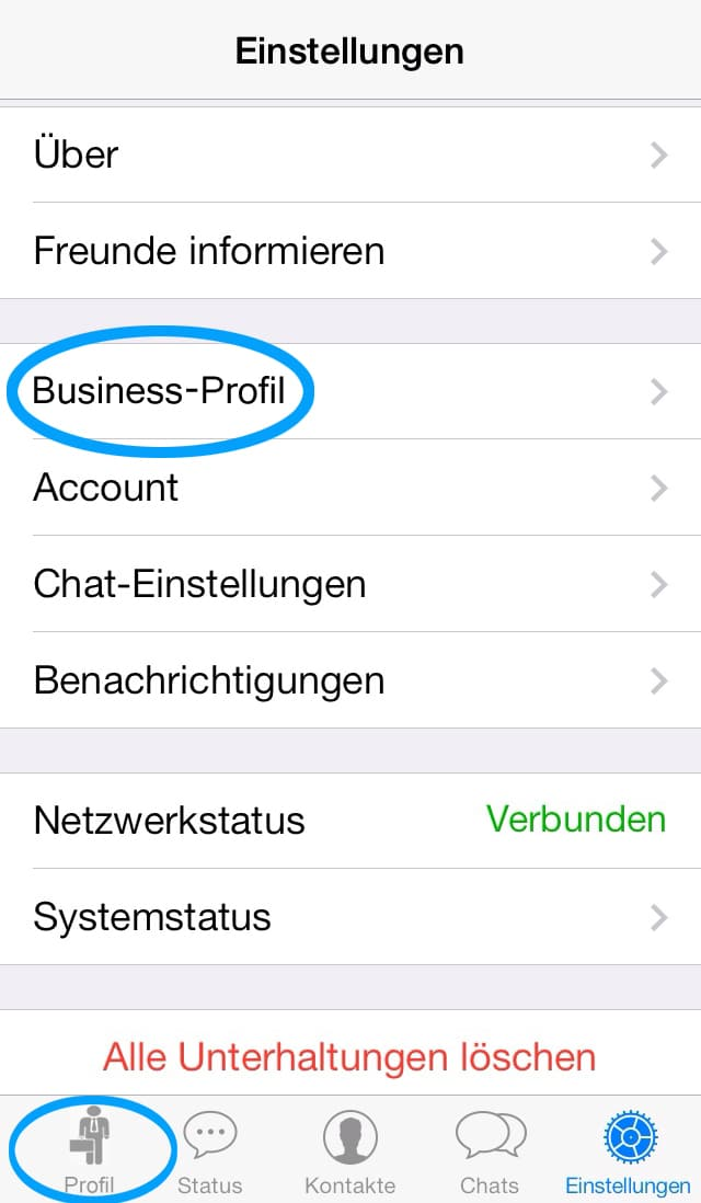 Nachgebautes Whatsapp Businessprofil