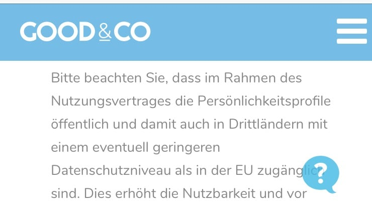 Screenshot Datenschutzvereinbarung GOOD&CO