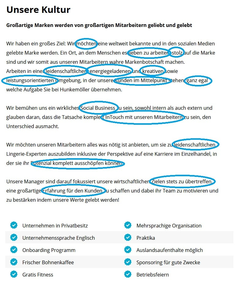 Screenshot Unternehmensprofil Hunkemoller