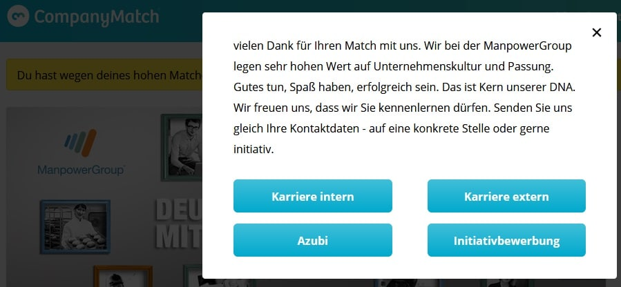 CompanyMatch Screenshot Manpower-Werbung