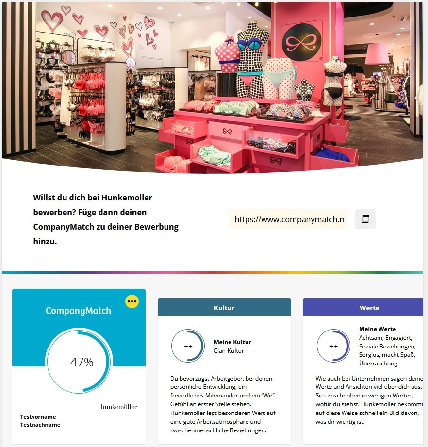 Company Match Screenshot Match mit Hunkemoller