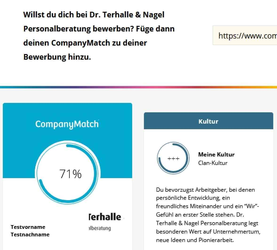 CompanyMatch Screenshot Best Match
