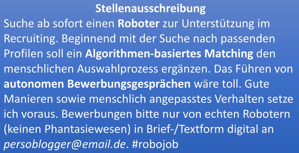 Stellenanzeige Recruitingroboter