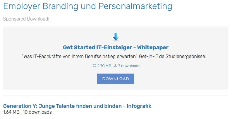 Screenshot Sponsored Download Kategorie-Seite
