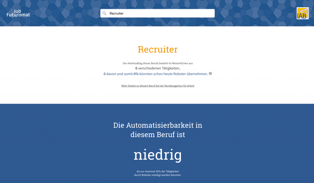 Automatisierungsgrad Recruiter nach dem Job Futuromat des IAB