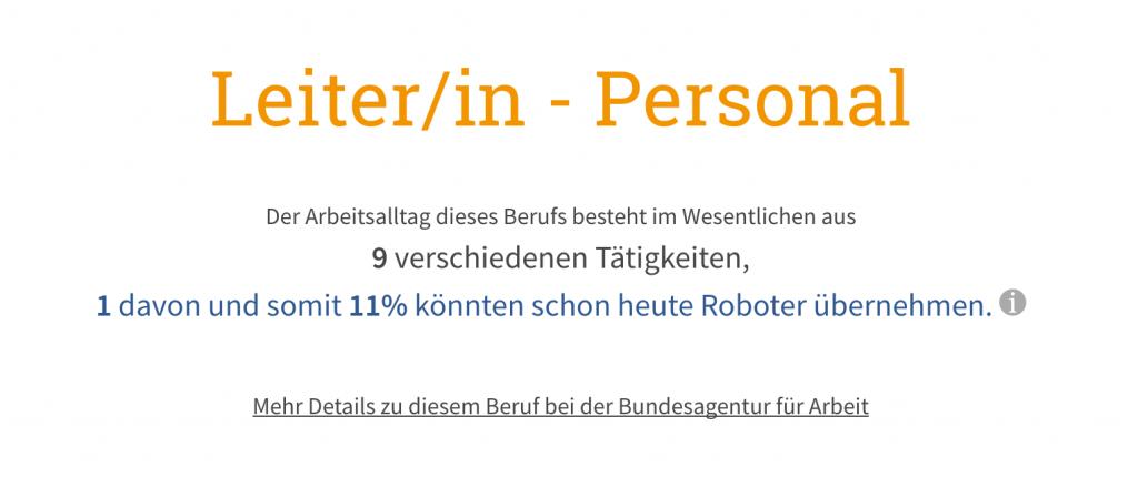 Automatisierungspotential Personalleiter/in nach IAB Job Futuromat