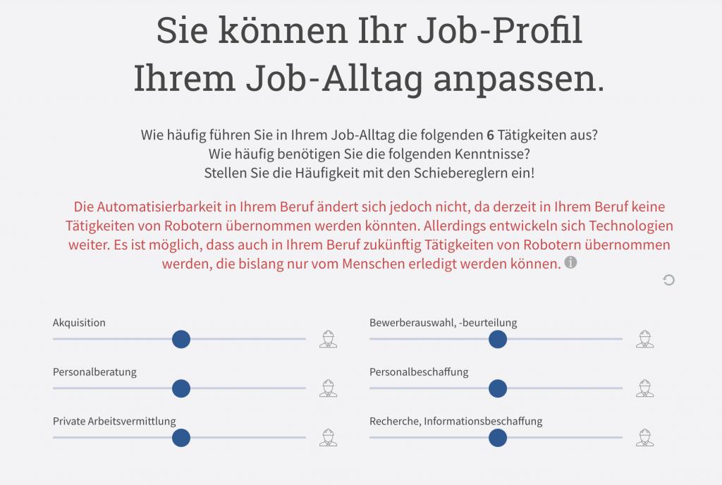 Automatisierungsgefahr im Recruiting laut Job Futuromat des IAB