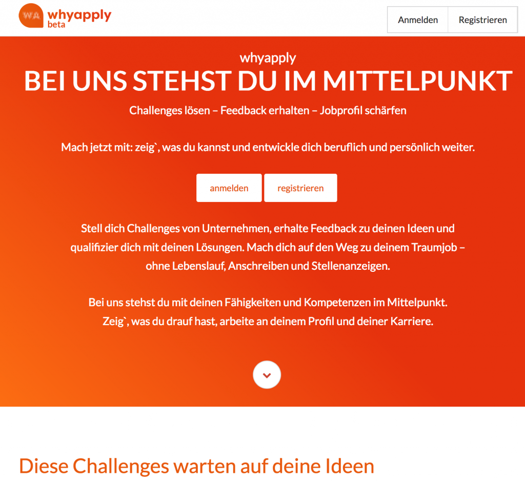 Startseite Recruiting-Plattform Whyapply.de