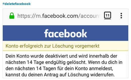 #deletefacebook Facebook-Account löschen