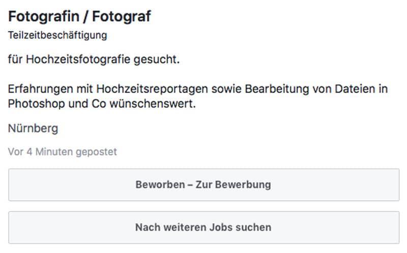 beim klick auf die erste option zeigt mir facebook die bewerbung erneut - Bewerbung Als Fotograf