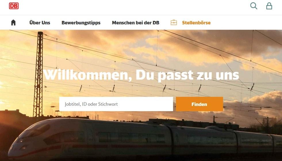 Screenshot Startseite DB-Karriere zum Thema Duzen und Siezen