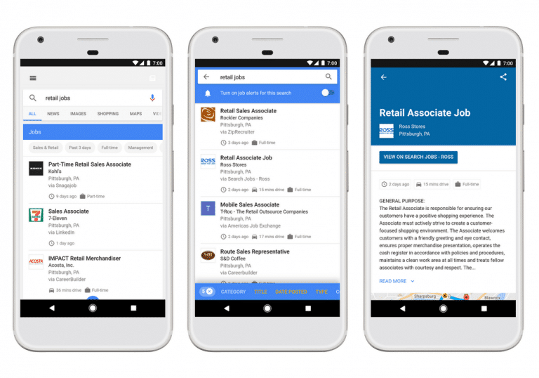 mobile Anzeige Google for Jobs