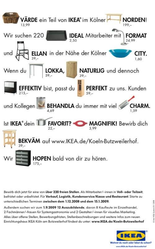 Kreative Stellenanzeigen - IKEA-Werbung