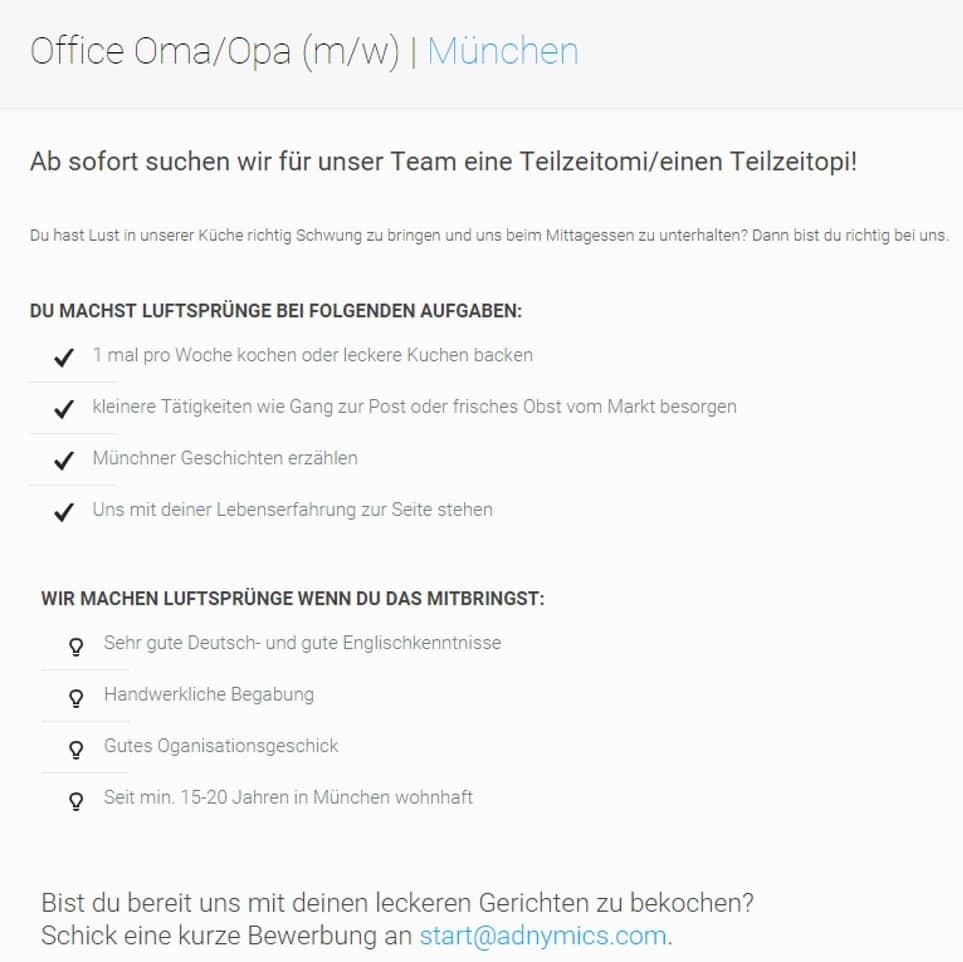 Kreative Stellenanzeige Office-Oma/Opa