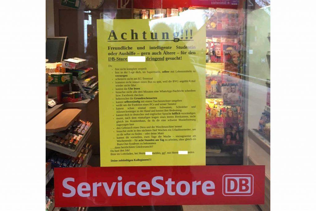 Kreative Stellenanzeige DB-Service-Store