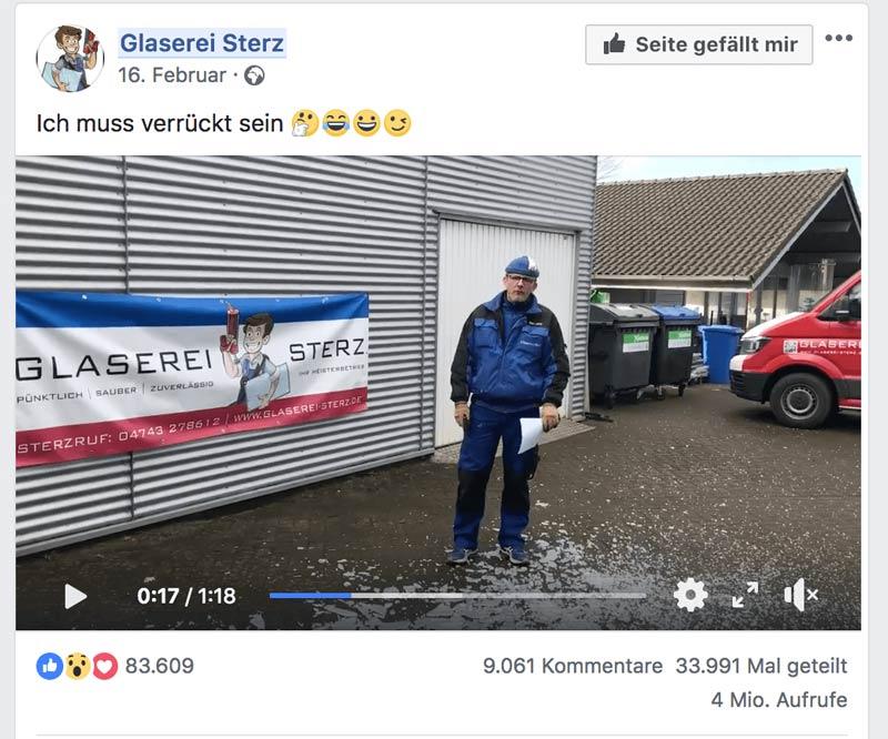Kreative Stellenausschreibung Glaserei Sterz auf Facebook