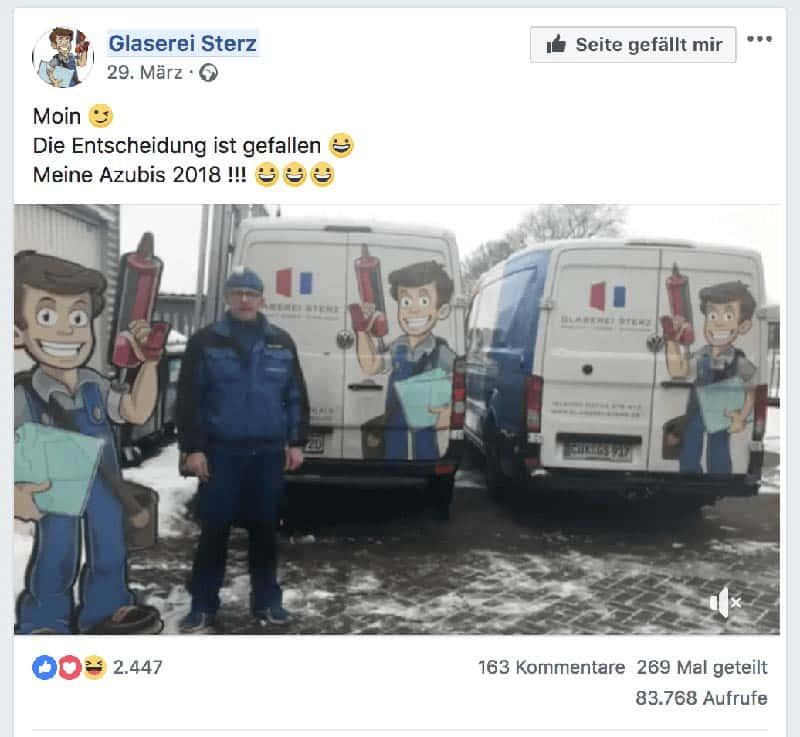 Video Stellenanzeige auf Facebook: Glaserei Sterz hat Azubis gefunden