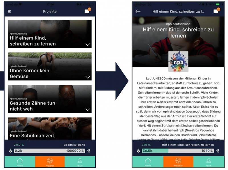 Screenshot soziales Anreizsystem Goodnity