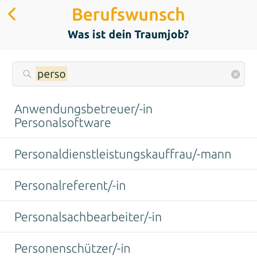 Screenshot: Recruiting-App Omnium