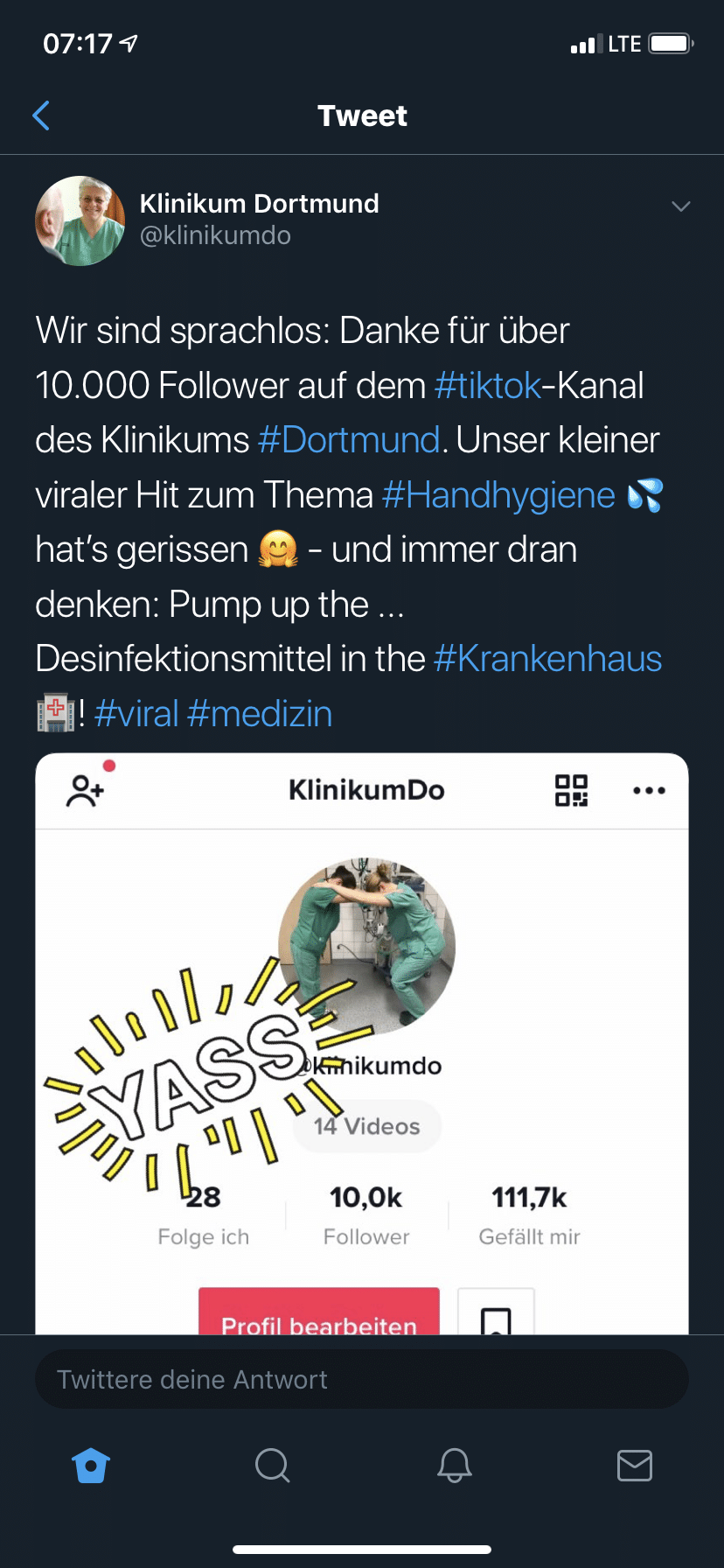 Tweet Klinikum Dortmund zu TikTok Kampagne