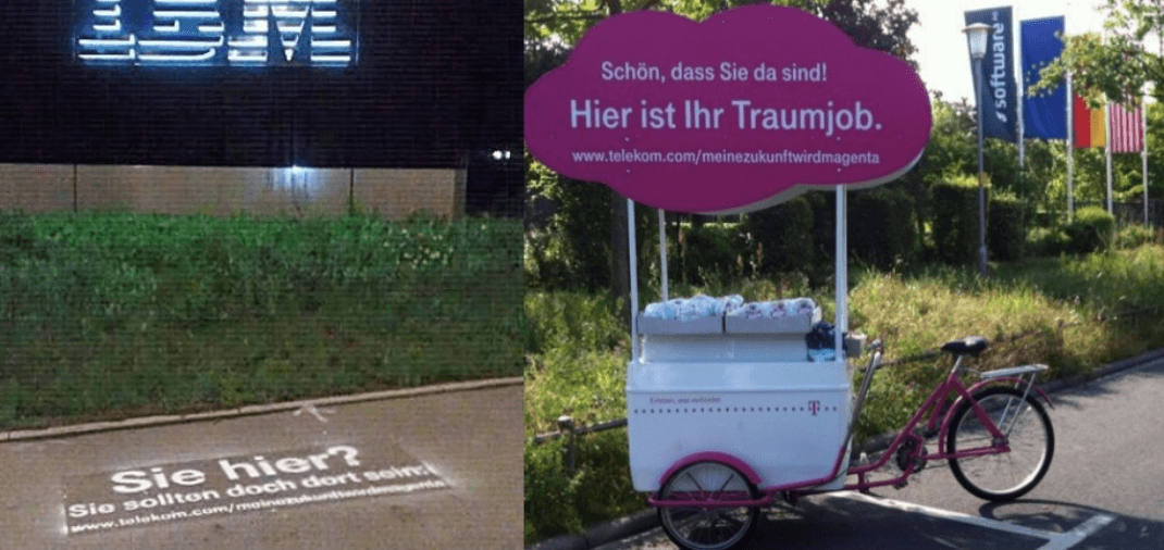 Guerilla Recruiting Aktion Deutsche Telekom