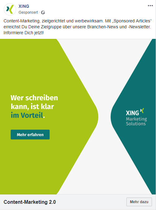 Content-Marketing via XING? Sponsored Articles