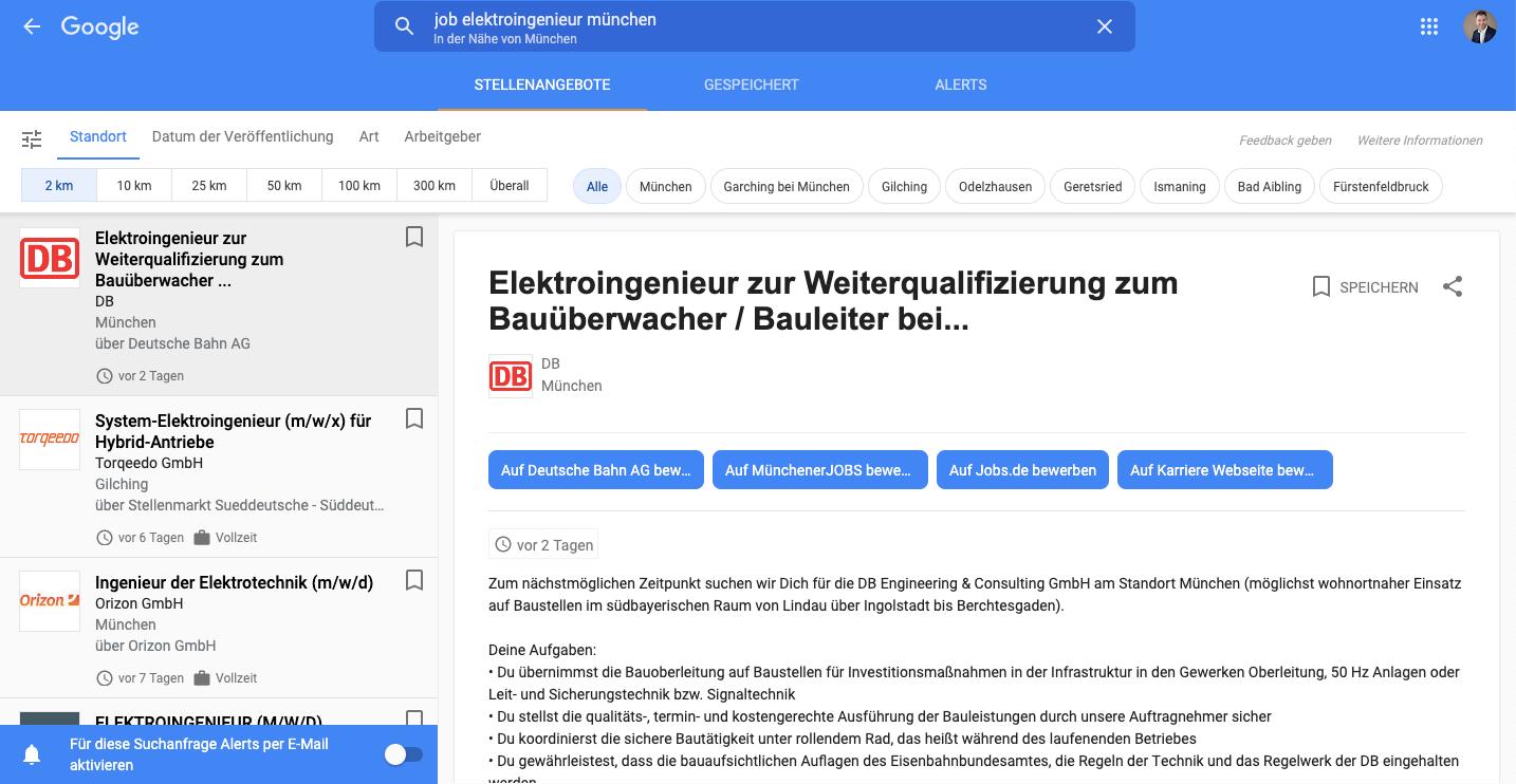 Google for Jobs zweite Seite