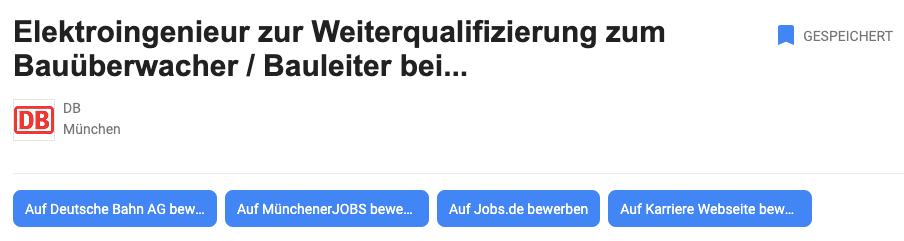 Bewerbungsmöglichkeiten über Google for Jobs Absprung