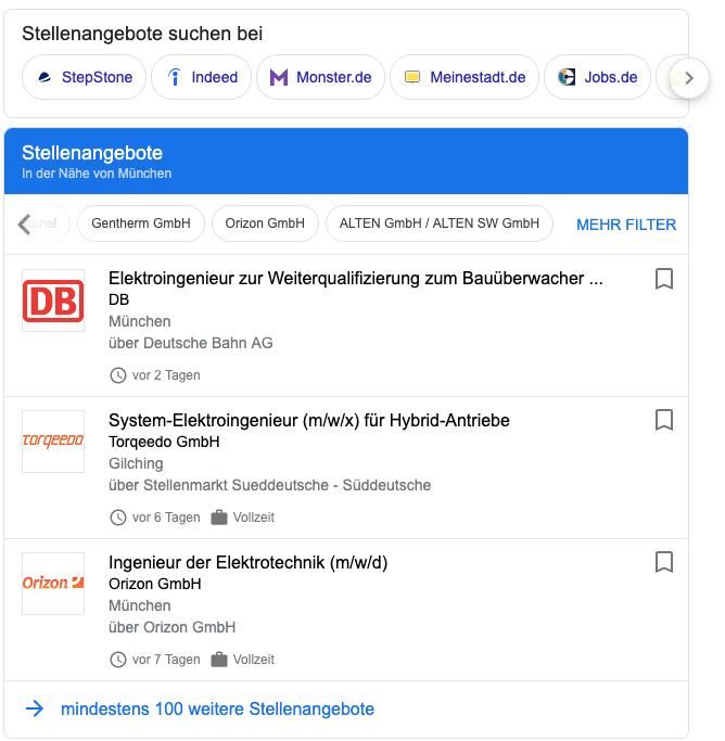 Google for Jobs Suchergebnisse mit LInktippcontainer