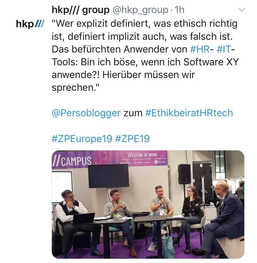 Tweet mit Foto von der Diskussionsrunde Ethik beim Einsatz von KI im Recruiting