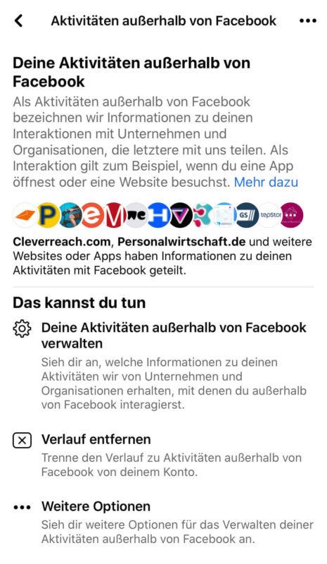 Liste Aktivitäten außerhalb von Facebook