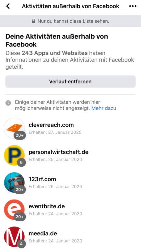 Aktivitäten außerhalb von Facebook löschen