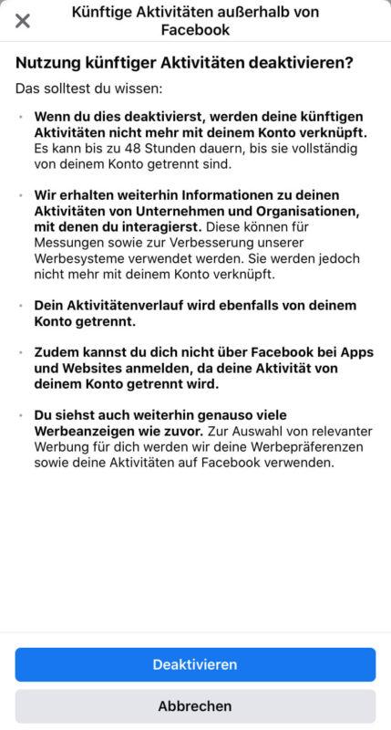 Löschen von Daten aus Aktivitäten außerhalb von Facebook