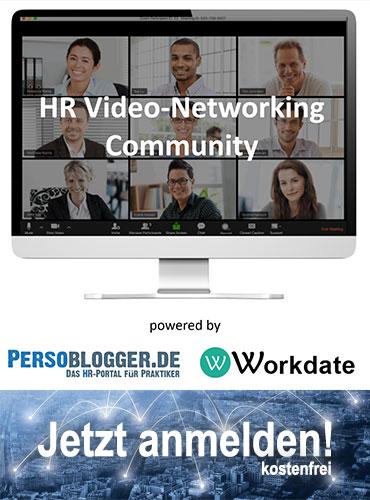Startseiten-Banner: HR Video-Networking Community - eine Initiative von PERSOBLOGGER.DE und Workdate