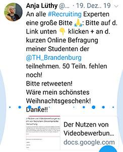 Tweet Anja Lüthy: Aufruf zur Beteiligung an der Befragung