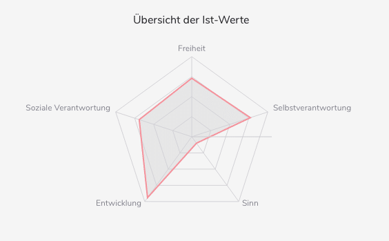 Grafik: Radar-Diagramm Ist-Werte des New Work Checks