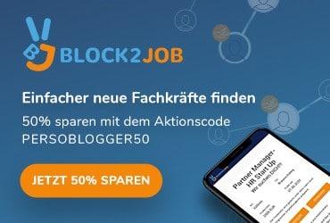 Sidebar-Banner: 50% Rabatt auf Stellenanzeigen bei Block2Job über PERSOBLOGGER.DE