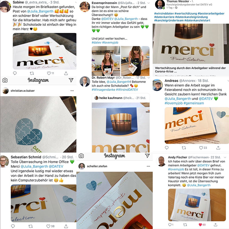 Tweet: DATEV COO und CHRO Julia Bangerth zum Corona-Merci