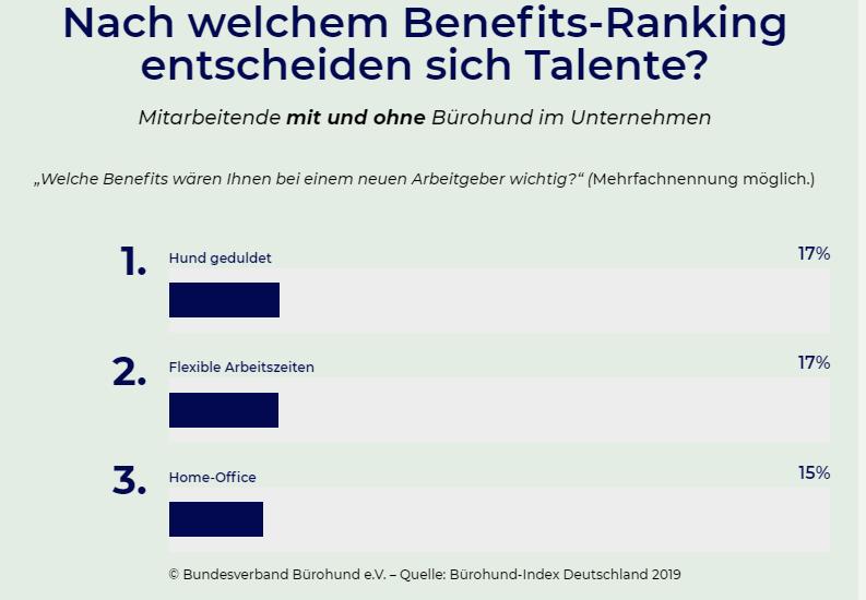 Infografik: Befragung Bürohund-Index 2019 gesuchte Benefits