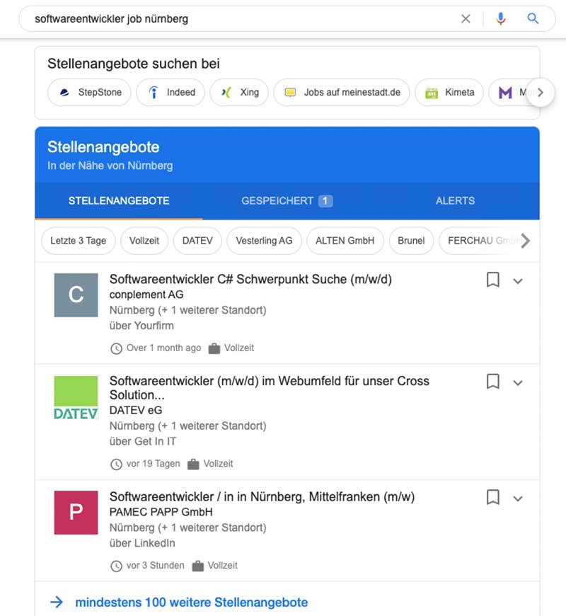 Screenshot: Google for Jobs Suche Softwareentwickler Nürnberg