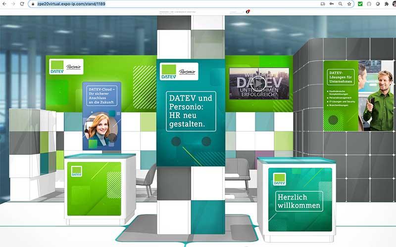 Messestand der DATEV eG auf der virtuellen Zukunft Personal Europe 2020