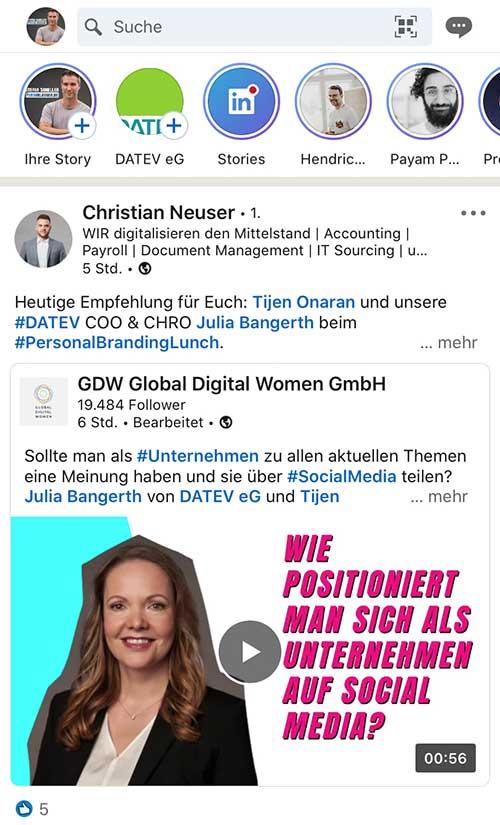 LinkedIn Stories Beispiel Persoblogger Stefan Scheller