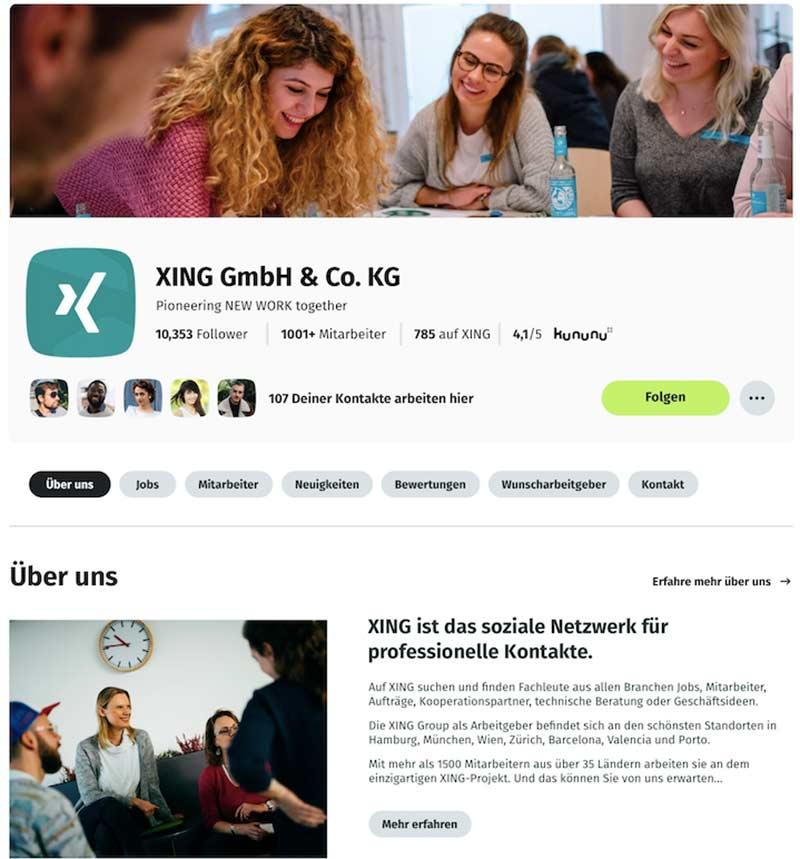 XING Unternehmensprofil nach dem Relaunch 2020: Header-Bereich