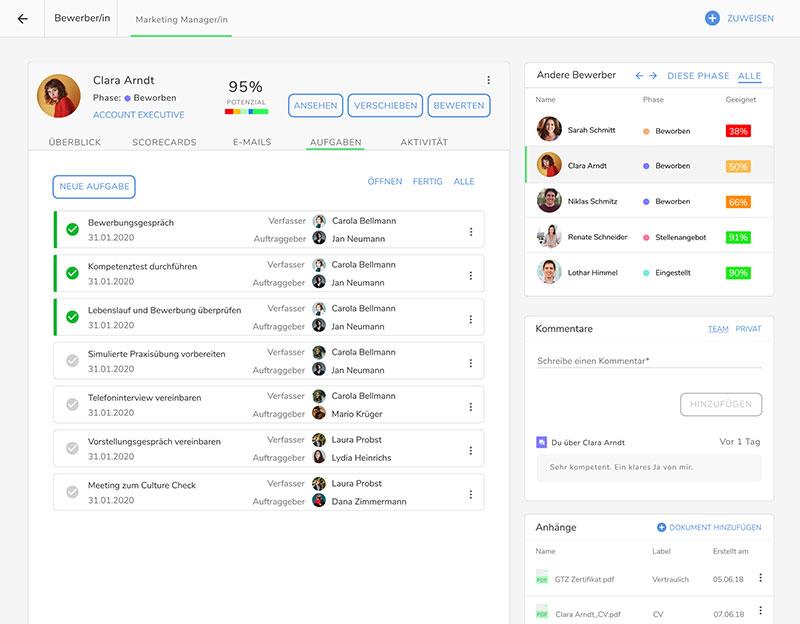 Recruiting Tasks in der Kenjo HR-Software