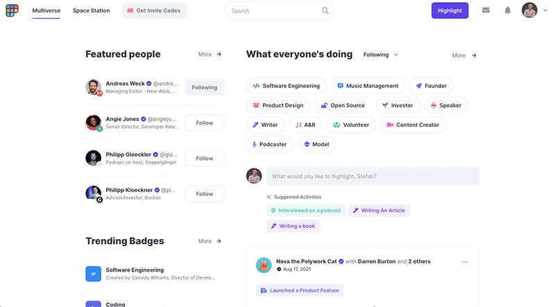 Polywork - Social Media Plattform Praxistest - Multiverse Features