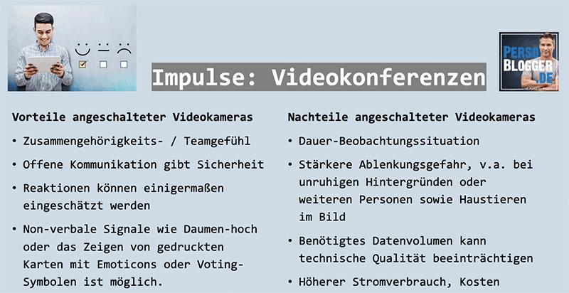 Vorteile und Nachteile von angeschalteter Kamera bei Videokonferenzen
